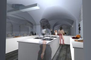 Progetto Ristorante DaDa Roma - Rendering cucina A