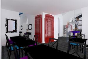 Progetto Ristorante DaDa Roma - Rendering sala bar A