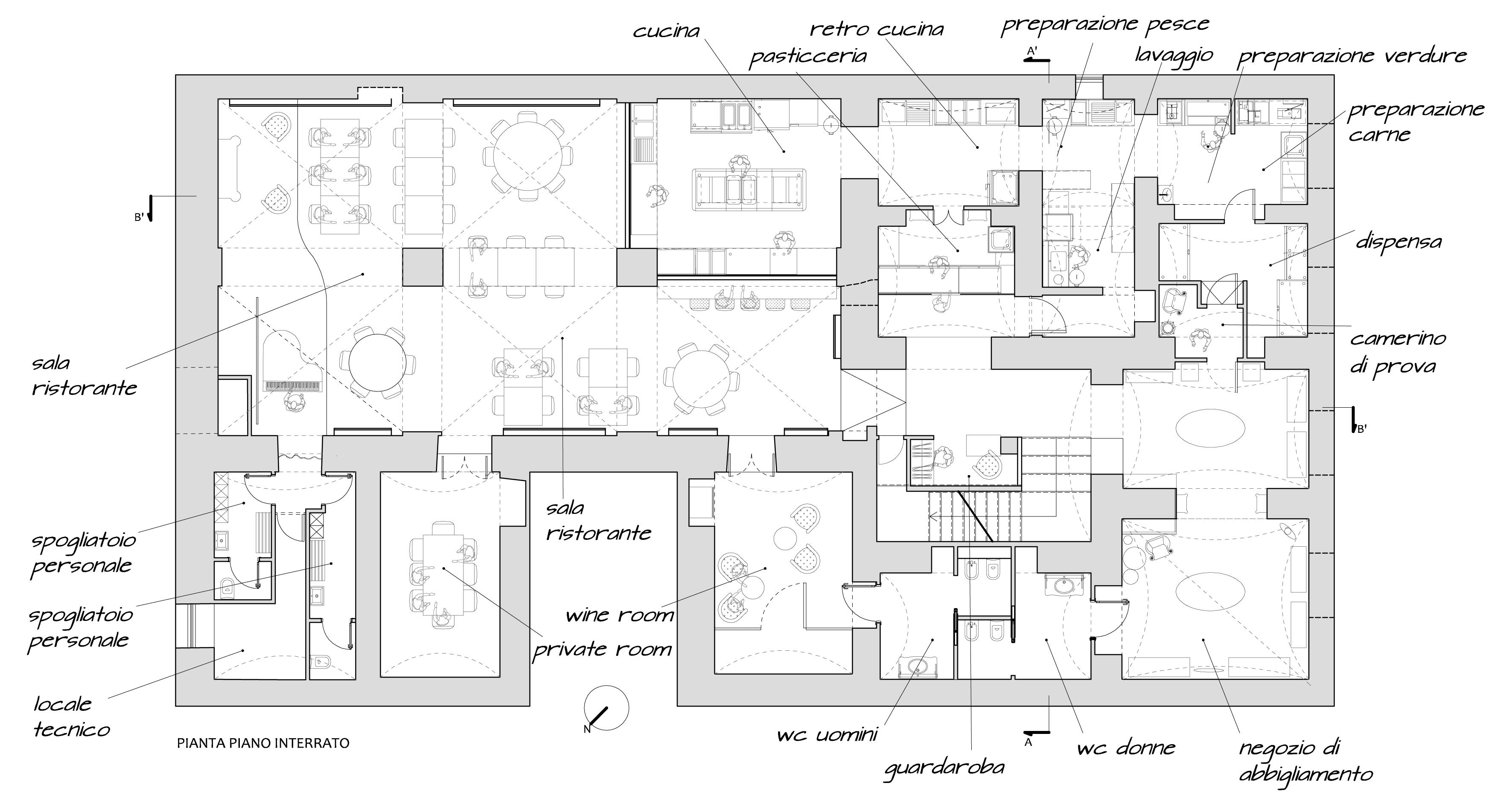 Architetto roma alessio virgili ristorante dada for Planimetrie di layout di casa