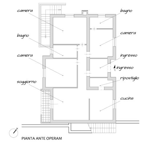 Progetto architettonico Ristrutturazione Villa Rocca Priora (Roma) - Planimetria ante operam