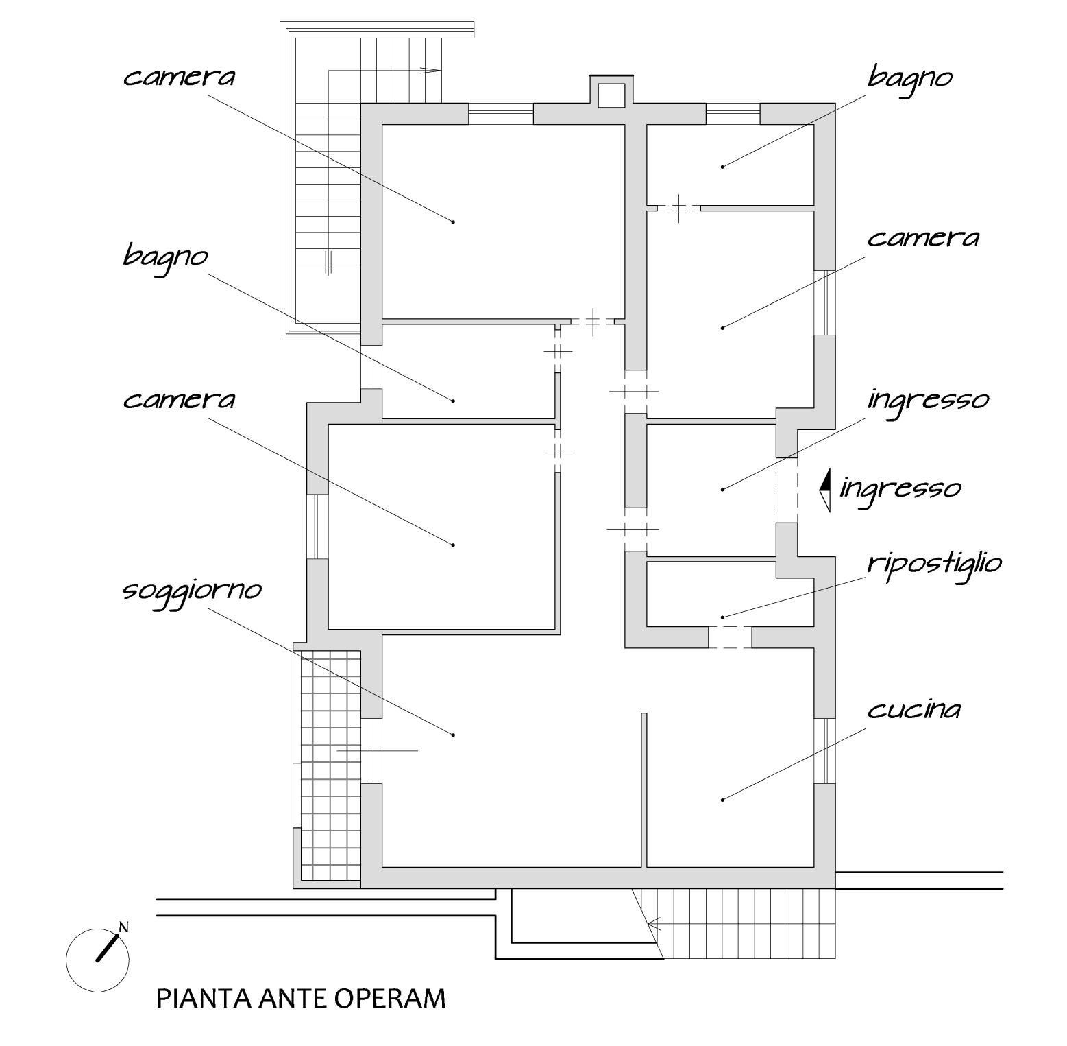 Progetto architettonico di una villa a Rocca Priora in provincia di Roma, Planimetria ante operam