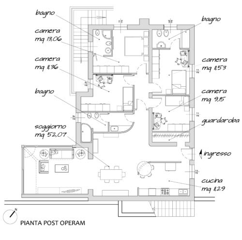 Progetto architettonico Ristrutturazione Villa Rocca Priora (Roma) - Planimetria post operam